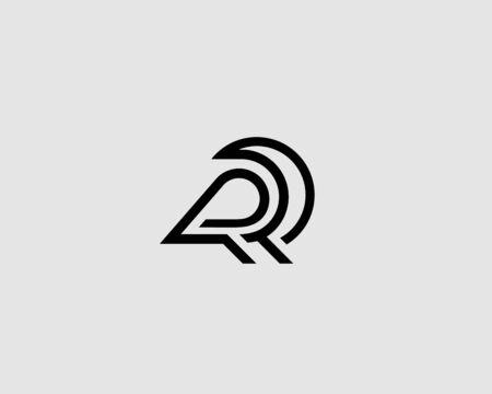 Abstract bird linear icon design modern minimal style illustration. Raven vector emblem sign symbol mark logotype. Illustration