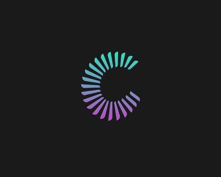 Abstract color letter C icon design modern minimal style illustration. Alphabet element vector emblem sign symbol mark logotype.