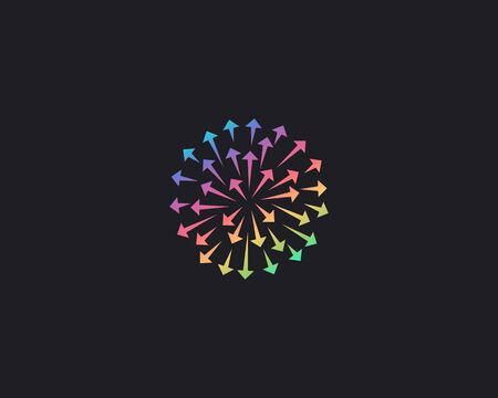 Abstract colorful arrows circle icon design modern minimal style illustration. Firework 3d sphere planet direction vector emblem sign symbol mark logotype. Illustration