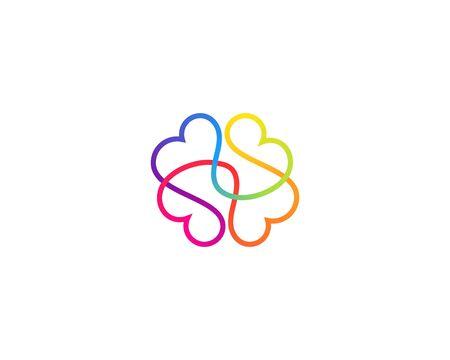 Illustrazione astratta di stile minimo dell'icona del cervello di una linea. Simbolo del segno dell'emblema del vettore gradiente