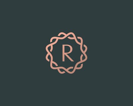 Abstract linear monogram letter R  icon design modern minimal style illustration. Premium alphabet round wreath frame vector line emblem sign symbol mark