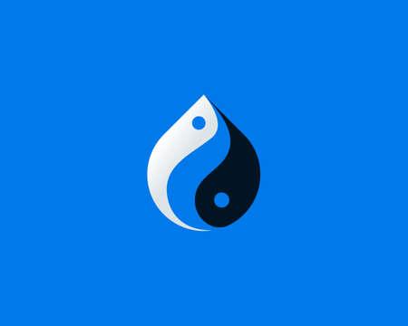 Waterdrop fish logo vector. Creative Yin Yang balance yoga harmony seafood sign symbol logotype isolated on blue background.