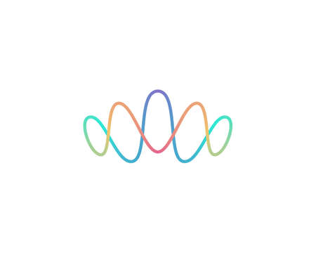 Abstract colorful gradient crown logo design. Waves sound vibrations voice elegant vector icon sign logotype. 向量圖像