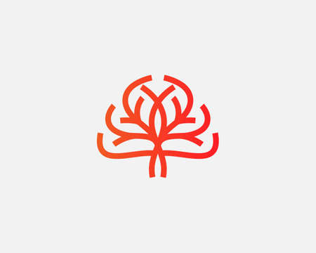Abstract vector tree logo icon design. Universal solid symbol sign logotype. Creative brain think idea psychology concept outline icon isolated on light background.
