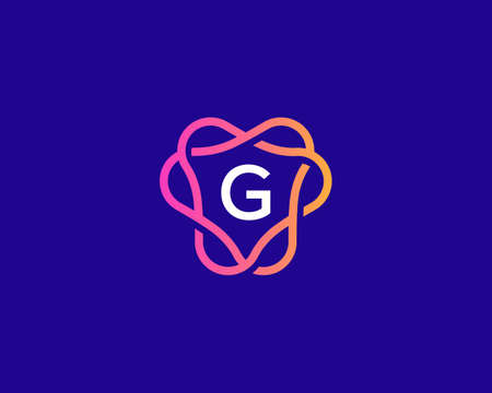 Letter G logo monogram, minimal style identity initial logo. Colorful creative gradient lines vector emblem logotype.