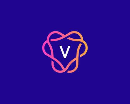 Letter V logo monogram, minimal style identity initial logo. Colorful creative gradient lines vector emblem logotype.