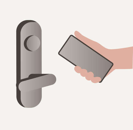 Smart home concept. Human hand with a smartphone near the door lock. Flat design style vector illustration of smart house technology system with control from smartphone.