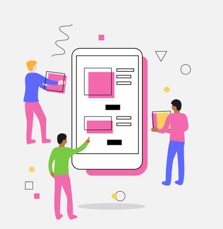 A person shows two people with boxes on the phone screen with app. Vector illustration of teamwork, delivery applications, online store, e-commerce. Can be used for website banner and landing page.