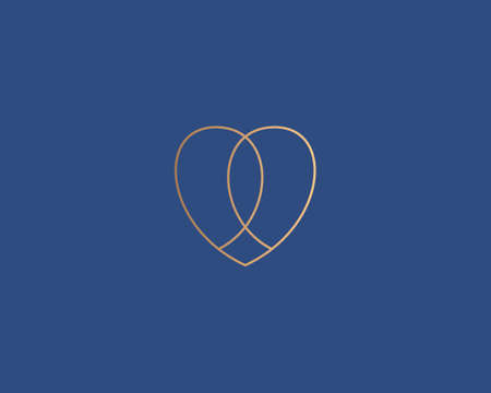 Abstract gold linear heart vector icon logo. Luxury valentines day medical health symbol logotype in minimalist style.