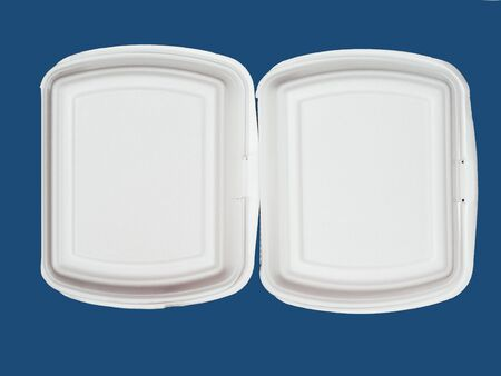 White foam food boxes on a blue background. Place under the text.