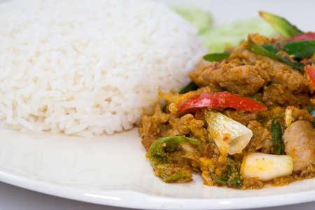 jasmine rice: Arroz jazm�n con curry en polvo Foto de archivo