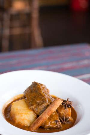 horizental: Horizental shot of massaman curry Beef