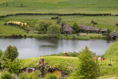holiday blockbuster: Hobbiton Movie set, Matamata, North Island, New Zealand Stock Photo