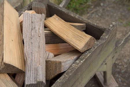 log basket: Firewood in square basket Stock Photo