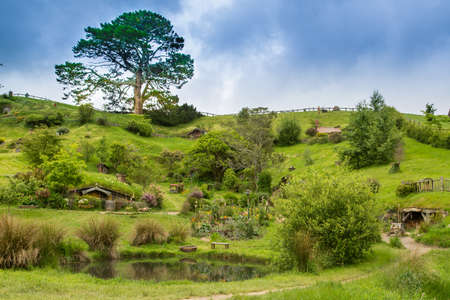 Hobbiton Movie set, Matamata, North Island, New Zealand Redactioneel