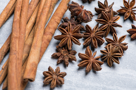 Cinnamon and Star Anise on grey texture background with selective focus