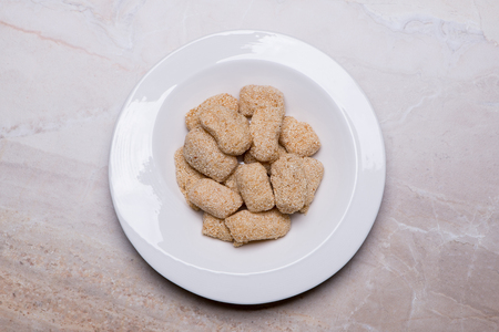Taro Sesame puff, a local snack from southern in Thailand made from taro, glutinous rice flour, sugar mixed with white sesame