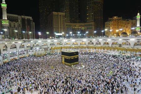 MAKKAH, SAUDI ARABIA - September, 2020: the pilgrims are performing tawaf in the Kaab