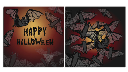 A set of postcards and buns with a flock of bats flying in the dark night, illuminated by lights from the celebration of Halloween. These blood-sucking mice have terrible fangs and translucent wings.