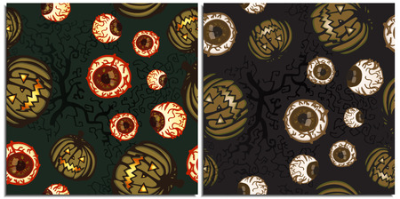 A set of frightening and dark fabulous seamless patterns with ominous pumpkins, dried old tree and crooked branches with a bloody eyeball on a dark green and grey purple background in dark tones