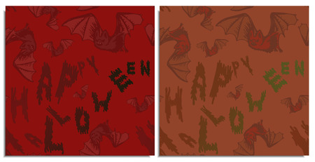 A set of seamless patterns with flying bats and lettering happy halloween on red and brick color. Blood-sucking mice have terrible fangs and translucent wings.Letters flow from translucent to contrast Stock Photo