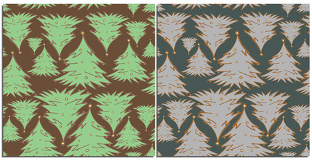Set of seamless patterns with coniferous Christmas trees with small toys.Evergreen trees flying in abstraction different sizes,on a brown and purple background.Suitable for new year wrap or background Reklamní fotografie