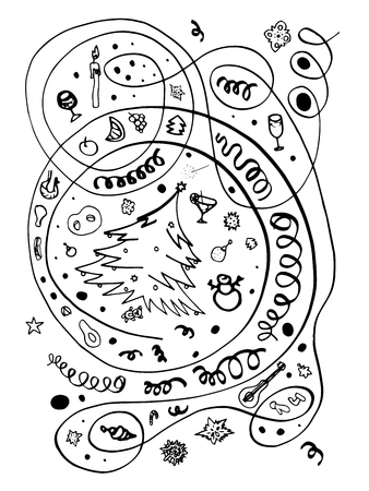 Black and white Christmas objects for drawing, the finished composition can be used in isolation. Fir tree, toys, drinks, food, sirpantin, sparklers festive attributes of the new year and Christmas