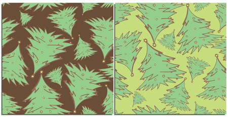 Set of seamless patterns with coniferous Christmas trees with small toys. Evergreen trees flying in abstraction different sizes,on a brown and green background.Suitable for new year wrap or background
