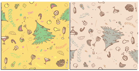 Set of seamless patterns with colorful Christmas objects on a yellow and baige. Fir tree, toys, drinks, food, candies,snowflakes, sirpantin, sparklers festive attributes of the new year and Christmas