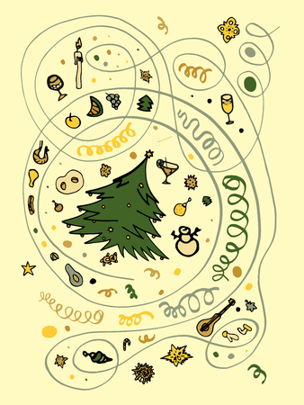 Set of Christmas objects in neutral and green colors on a beige background, the finished composition can be used in isolation. Spruce, toys, drinks, food, sirpantin, festive attributes of the new year