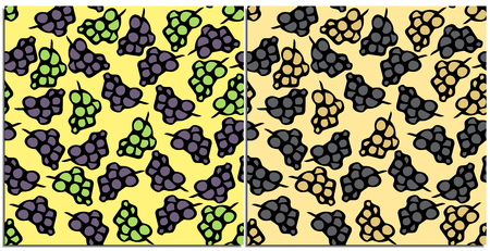 Set of seamless patterns of fresh grapes green and purple vector on a beige background. Drawn vector grapes. Tasty and healthy food. The preference of vegetarians, fruktoriantsev.