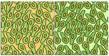Set of seamless patterns of fresh avocados with vector bone on green and beige background. Vector drawn avocado. Cut avocado, healthy food. The preference of vegetarians, fruktoriantsev.