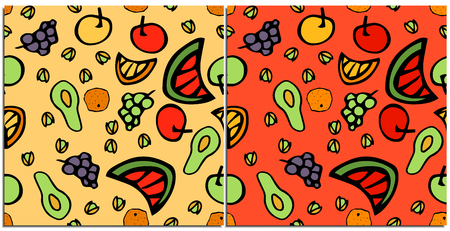 Set of seamless patterns with healthy and tasty colorful food on a neutral.Fruits grapes, avocado, watermelon, apple, melon, pistachios.Food that is preferred by vegetarians and fructarians is healthy Reklamní fotografie