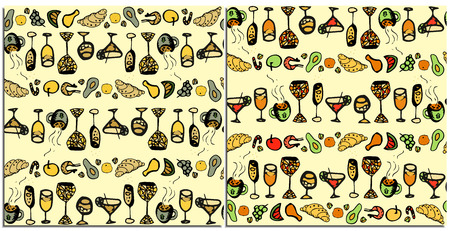 A set of seamless patterns with food and distilleries neutral and colorful. Glasses with champagne, wine, martini, mojito with lime, a mug of hot coffee, fruit, croissant, shrimps, chicken, pistachios Reklamní fotografie