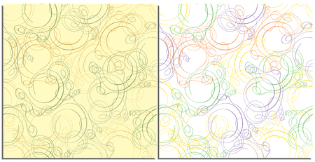Set of seamless Christmas patterns with colored ribbons in neutral colors on a beige and light background. Drawn with a pen, vector ribbons for background, wrapping paper, wallpaper.