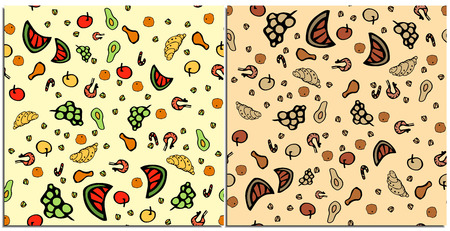 Set of seamless patterns with healthy and tasty colorful food on a neutral background. Fruits: grapes, avocado, watermelon, apple and other delicacies: croissant, shrimp, chicken, pistachios