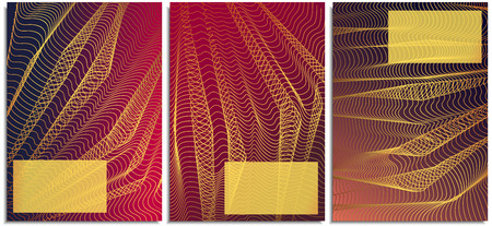 Vector set of posters with curved lines turning into each other, resembling cloth. Modern style, suitable for the cover of a folder for business, background, postcards, printing, covers for stationery Ilustrace