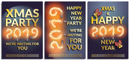 Vector set of posters, greetings, cards, invitations to the Christmas and happy New Year party. Photorealistic the lettering 2019 brilliant glowing lampwith with bells, serpentine,dark blue background