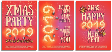 Vector set of posters, greetings, cards, invitations to the Christmas and happy New Year party. Photorealistic the lettering 2019 brilliant glowing lampwith with bells, serpentine, bright sparkles