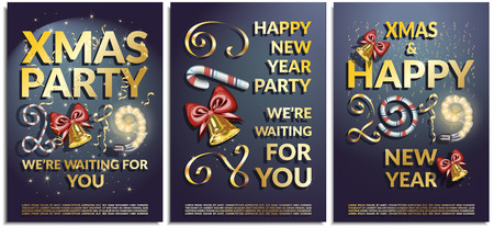 Vector set of posters, greetings, cards, invitations to the Christmas and happy New Year party. Photorealistic serpentine and the inscription 2019 brilliant serpentine with bells, candy, glowing lamp