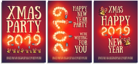 Vector set of posters, greetings, cards, invitations to the Christmas and happy New Year party. Photorealistic the lettering 2019 brilliant glowing beautiful lamps with with bells, bright sparkles