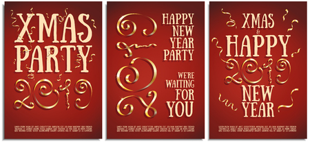 Vector set of posters, greetings, cards, invitations to the Christmas and happy New Year party. Photorealistic serpentina and the inscription 2019 brilliant gold serpentine on a red background