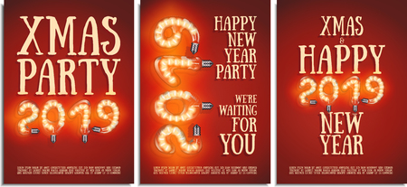 Vector set of posters, greetings, cards, invitations to the Christmas and happy New Year party. Photorealistic the lettering 2019 brilliant bright and warm glowing beautiful lamps on a red background