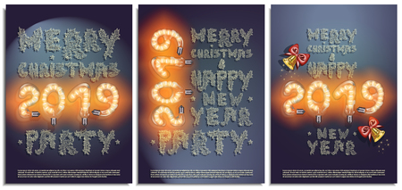 Vector set of posters, greetings, cards, invitations to the Christmas and happy New Year party. Photorealistic the lettering 2019 brilliant glowing lampwith, bells and patterned snowflake inscriptions Ilustrace
