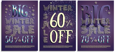 Vector set of posters, signs, flyers, advertising brochures about the winter sale, after the holidays of Christmas and New Year. Beautiful inscription letters hand-drawn in the form of snowflakes, ice Ilustrace