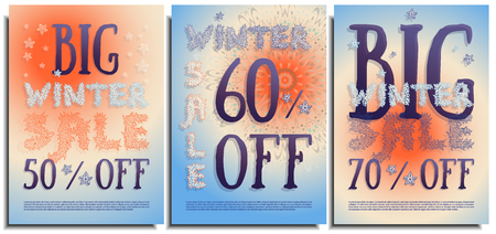 Vector set of posters, signs, flyers, advertising brochures about the winter big sale after holidays. Beautiful inscription letters hand-drawn in the form of snowflakes, ice. Clear sky suny winter day