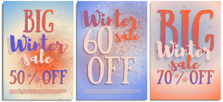 Vector set of posters, signs, flyers, advertising brochures about the winter big sale after holidays. Beautiful inscription in winter colors about sale 50, 60, 70 % off. Clear sky suny winter day.