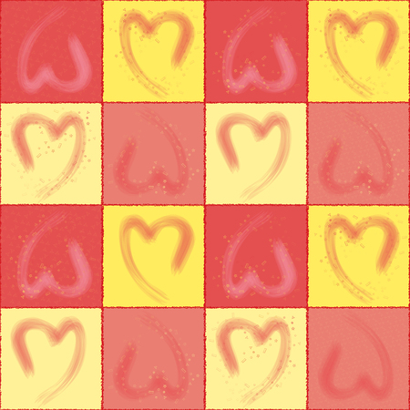 Set of seamless pattern with a hearts as a hand drawn and a lot of geometric small symbols form of heart in complex together. Around heart have square curve line.Yellow and pink color and nice texture