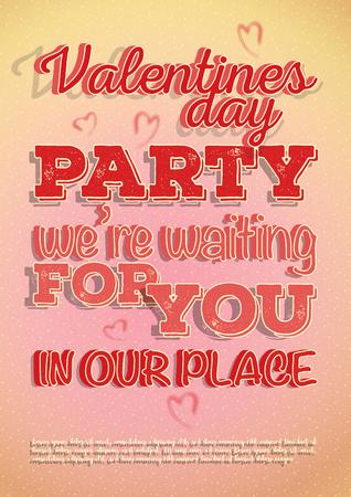 Cartel de vector invita a la fiesta del día de San Valentín con corazones y textura hermosa en letras. Diseño en colores y patrones de fondo rosa-naranja claro.