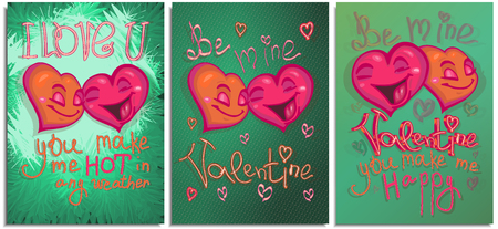 Set of graphics postcard, posters, for Happy Valentine day. Happy color bright cartoon hearts falling in love and make confessions: you make me hot in any weather. Lettering and character hand drawn